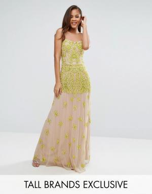 Maya Tall Платье макси с топом-корсетом и отделкой. Цвет: желтый