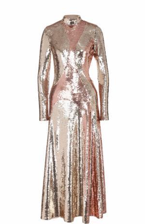 Приталенное платье-миди с открытой спиной и пайетками Emilio Pucci. Цвет: бежевый