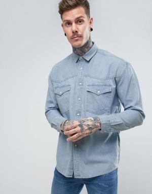 ASOS Выбеленная джинсовая оверсайз-рубашка в винтажном стиле. Цвет: синий