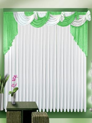 Комплект штор ZLATA KORUNKA. Цвет: белый, салатовый