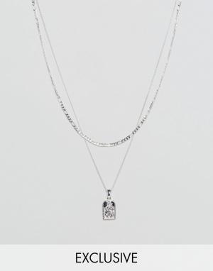 Chained & Able Серебристое ожерелье с подвеской эксклюзивно для ASOS. Цвет: серебряный