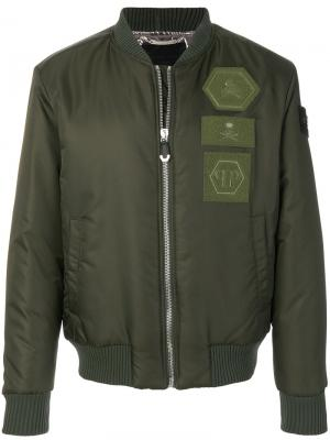Куртка-бомбер  Stress Philipp Plein. Цвет: зелёный