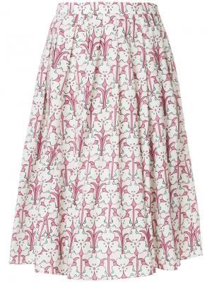 Плиссированная юбка миди с цветочным принтом Prada. Цвет: розовый и фиолетовый