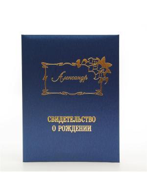 Именная обложка для свидетельства о рождении Александр Dream Service. Цвет: синий