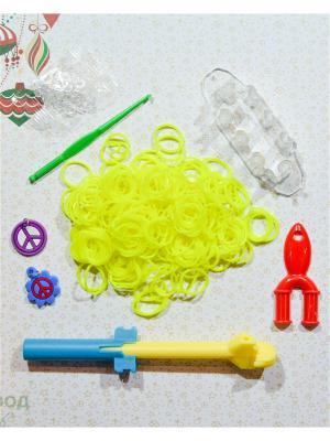 Набор резинок для плетения 500 крючок большой станок рогатка S-зажимы брелоки Loom Bands. Цвет: желтый