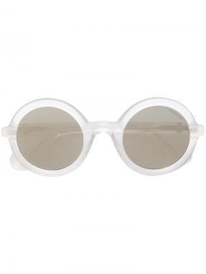 Солнцезащитные очки с круглой оправой Moncler Eyewear. Цвет: белый