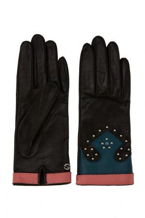 Кожаные перчатки с заклепками Gucci. Цвет: черный