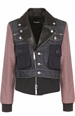 Комбинированная куртка с косой молнией Dsquared2. Цвет: разноцветный