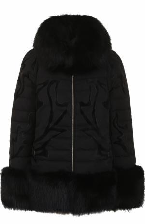 Куртка на молнии с отделкой из меха лисы Elie Saab. Цвет: черный