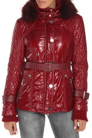 Полуприлегающая куртка с ремнем Fontanelli. Цвет: бордовый