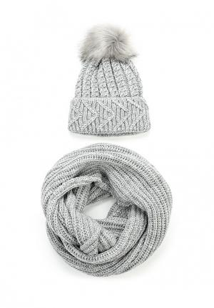 Комплект снуд и шапка Fete. Цвет: серый