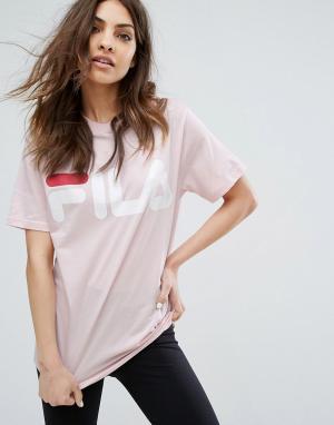 Fila Свободная футболка бойфренда с большим логотипом. Цвет: розовый