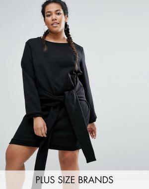 One Three Трикотажное платье с завязкой спереди. Цвет: черный