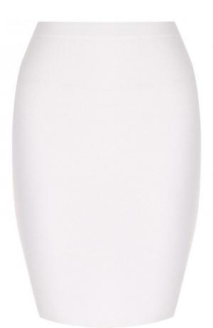 Хлопковая мини-юбка фактурной вязки Cruciani. Цвет: белый