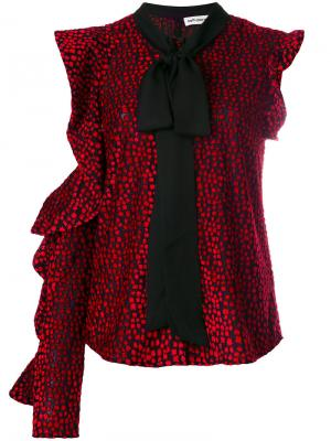 Асимметричная блузка с бантом Self-Portrait. Цвет: красный
