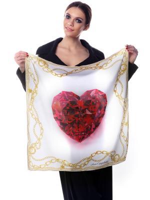 Платок шелк Рубиновое сердце на белом фоне в золотых цепях SEANNA. Цвет: белый, красный