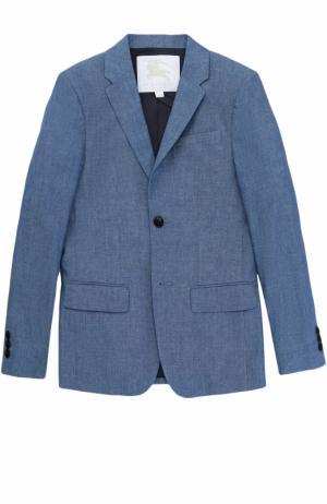 Однобортный хлопковый пиджак Burberry. Цвет: голубой