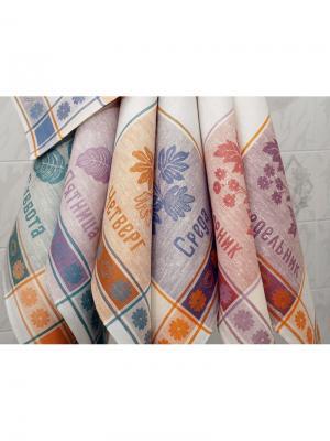 Набор полотенец из 7-и шт. Лето-7 Белорусский Лен. Цвет: белый, синий, фиолетовый, красный, оранжевый