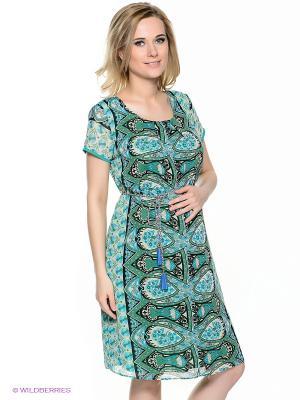 Платье EUROMAMA. Цвет: зеленый, серо-зеленый