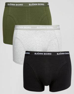 Bjorn Borg 3 пары боксеров-брифов. Цвет: серый