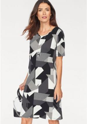 Платье Laura Scott. Цвет: красный/черный/коралловый с рисунком