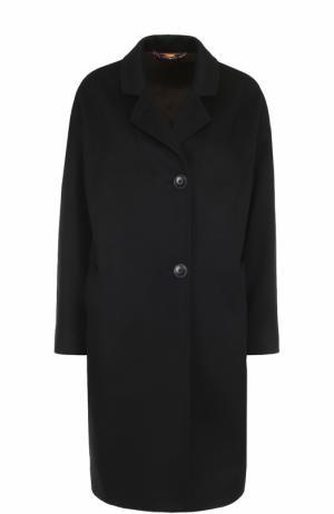 Однобортное кашемировое пальто прямого кроя Colombo. Цвет: темно-синий