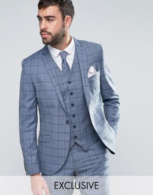 Heart & Dagger Приталенный пиджак в клетку Summer Wedding. Цвет: синий