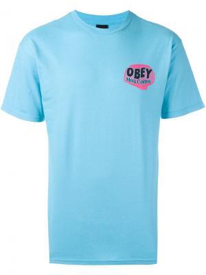 Футболка Mind Control Obey. Цвет: синий