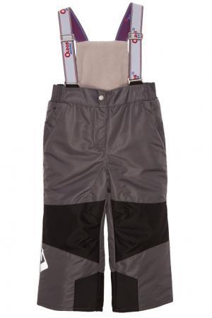 Серые брюки с подтяжками Oldos. Цвет: серый