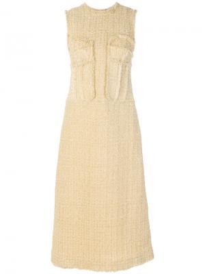 Твидовое платье Simone Rocha. Цвет: жёлтый и оранжевый