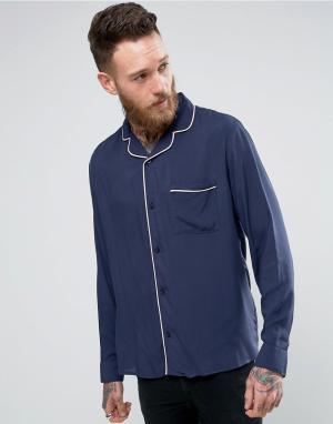 Brooklyn Supply Co. Рубашка с отложным воротником и окантовкой Co. Цвет: темно-синий