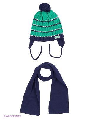 Шапка и шарф Grans. Цвет: темно-синий, зеленый