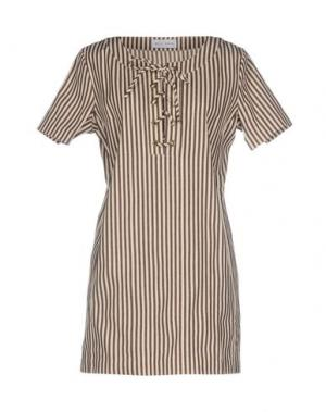 Короткое платье WEILI ZHENG. Цвет: темно-коричневый