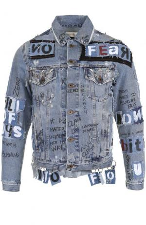 Джинсовая куртка на пуговицах с отделкой Faith Connexion. Цвет: синий