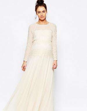 ASOS Maternity Платье макси для беременных с кружевной вставкой. Цвет: кремовый