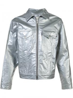 Джинсовая куртка на молнии Enfants Riches Déprimés. Цвет: серый