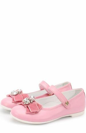 Кожаные туфли с бантом и кристаллами Missouri. Цвет: розовый