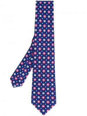 Галстук с цветочным принтом Kiton. Цвет: синий
