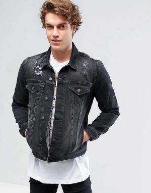 ASOS Черная выбеленная джинсовая куртка с рваной отделкой. Цвет: черный
