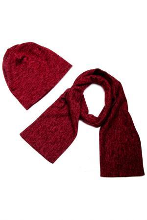 Комплект: шапка, шарф Asavi Jewel. Цвет: бордовый меланж