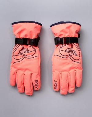 Roxy Розовые горнолыжные перчатки. Цвет: розовый