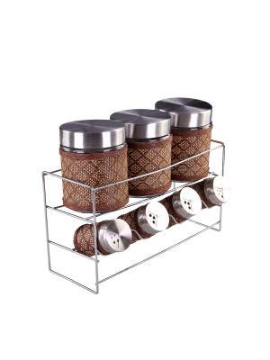 Набор банок для сыпучих продуктов и специй на металлической подставке 7 предметов, шт PATRICIA. Цвет: коричневый