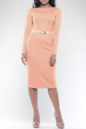 Полуприлегающее платье с длинными рукавами REBECCA TATTI. Цвет: персиковый