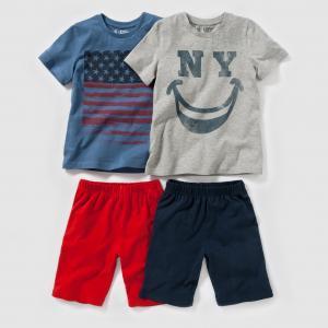 2 пижамы из джерси с рисунком, 2-12 лет R édition. Цвет: серый меланж + синий