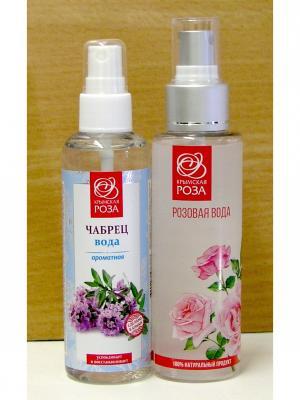 Набор Вода розовая натуральная +Вода ароматная Чабрец Крымская Роза. Цвет: белый