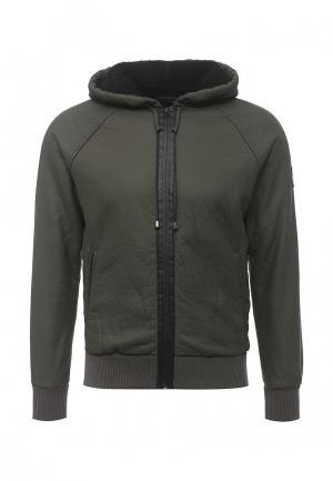 Куртка кожаная Gas. Цвет: зеленый