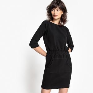 Платье прямое однотонное средней длины, с рукавами 3/4 SCHOOL RAG. Цвет: черный