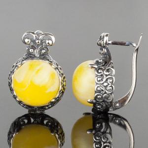 Серьги Корона им. янтаря, арт. сс-7597 Бусики-Колечки. Цвет: желтый