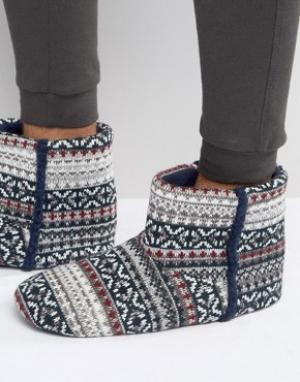 Dunlop Серые сапожки-слиперы с традиционным узором Фэйр-Айл. Цвет: синий