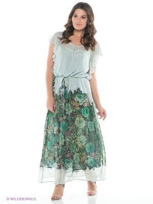 Платье AVELON. Цвет: зеленый, голубой